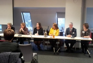 The panel - Jane Bristow, Lynne Mawdsley, Angela Williams, Debbie White, Tony Leech and Janine McDowell