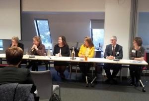The panel - Jane Bristow, Lynne Mawdsley, Angela Williams, Debbie White, Tony Leech and Janine McDowell